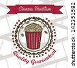 Illustration of film icon, movie popcorn, vector illustration - stock photo
