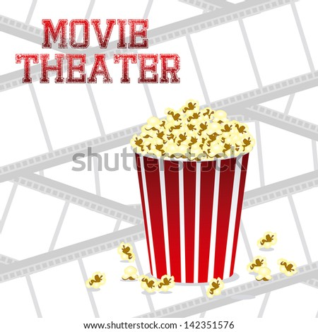 Illustration of film icon, movie popcorn, vector illustration - stock vector