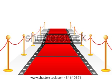 illustration of film stripe laying as red carpet on stair - stock vector