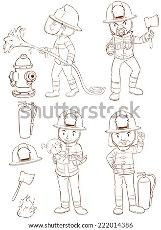 Illustration of fire fighters and equipments - stock vector