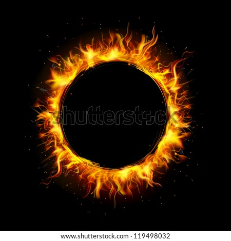 illustration of fire flame in circular frame - stock vector