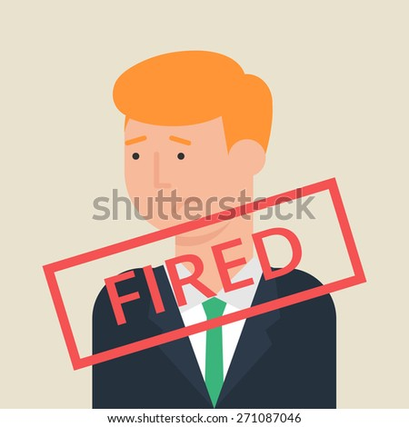 Illustration of fired employee, flat style