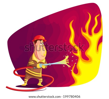 illustration of firefighter extinguishing fire in vector - stock vector