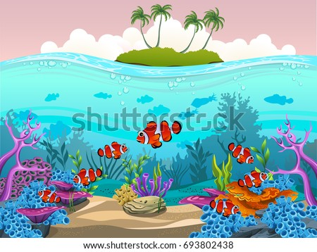 Illustration Of Fish And Coral The Sea Beautiful Ocean With Animals For Wallpaper