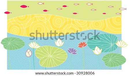 illustration of fish and lotus in the lake