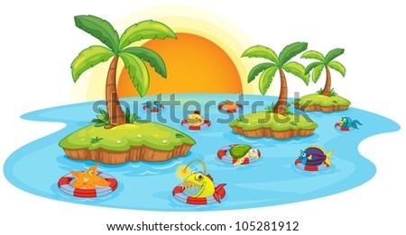 illustration of fish in a pond on a white background - stock vector
