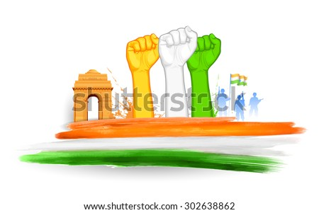 illustration of fist in Indian tricolor with India Gate - stock vector