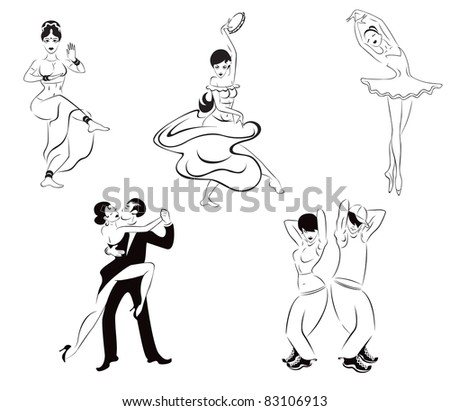 Illustration of five dance styles: Indian dance, gypsy dance, ballet, tango, street dance. - stock vector