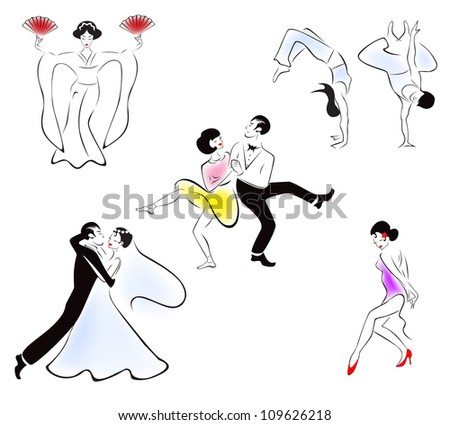 Illustration Of Five Dance Styles Japanese Capoeira Swing Wedding