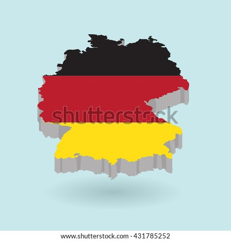 Illustration of flag color Germany on map.Vector illustration flat style.