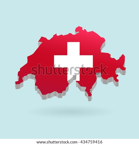 Illustration of flag color Switzerland on map.Vector illustration flat style.