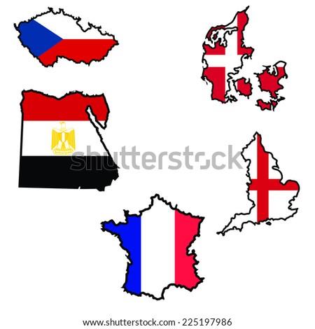 Illustration of flag in map of Czech Republic,Denmark,Egypt,England,France  - stock vector