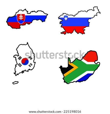 Illustration of flag in map of Slovakia,Slovenia,South Africa,South Korea - stock vector