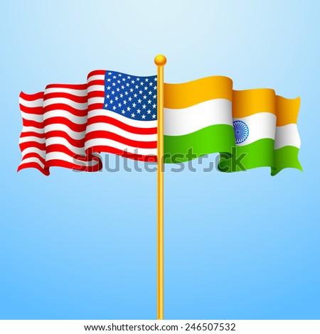 illustration of flag India-America relationship - stock vector