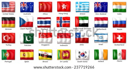 Illustration of flags from different countries - stock vector