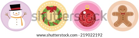 Illustration of 4 Flat Christmas Icons - stock vector