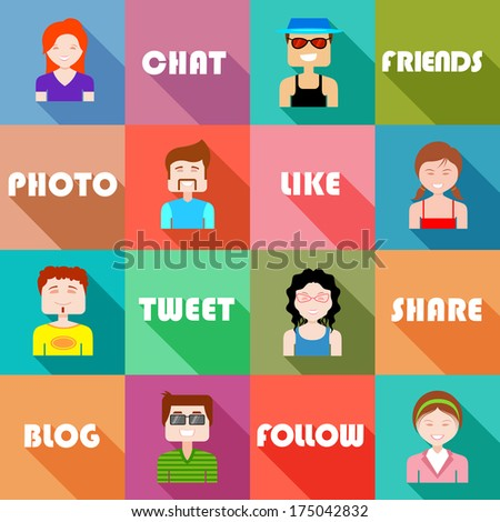 illustration of flat design for social networking concept - stock vector
