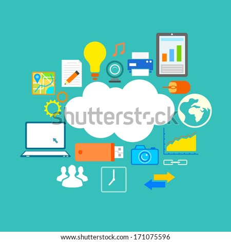 illustration of flat design of technology showing icon in cloud computing concept - stock vector