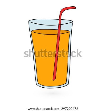 illustration of flat fast food juce icon on white background Vector - stock vector