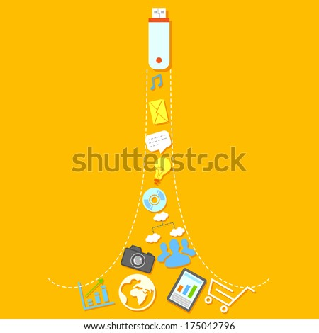 illustration of flat social media icons coming out of USB pendrive - stock vector