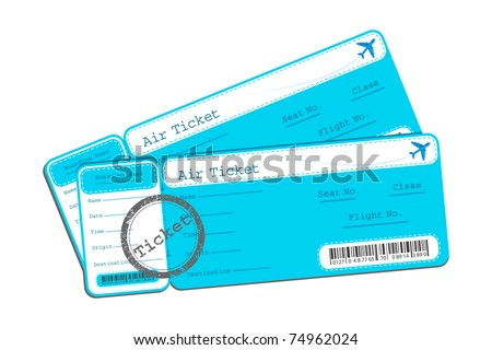 illustration of flight ticket on isolated background - stock vector