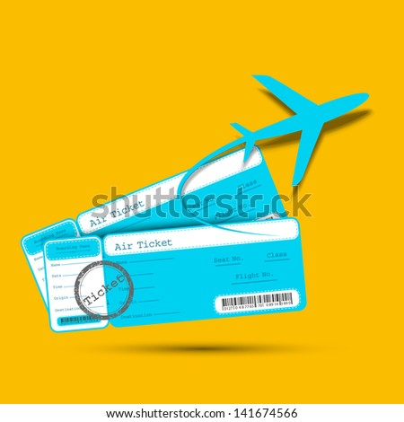 illustration of flight ticket with airplane - stock vector
