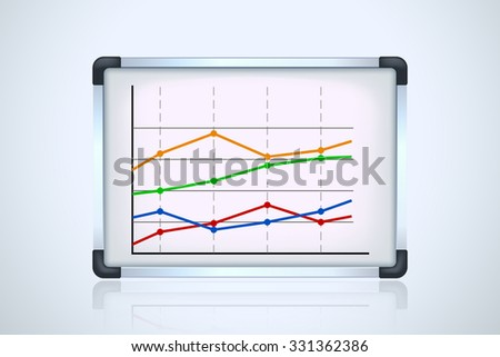 illustration of flipchart with graph on blue background with reflection - stock vector