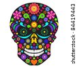 Illustration of flower skull isolated on white background. - stock vector