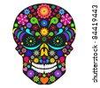 Illustration of flower skull isolated on white background. - stock vector