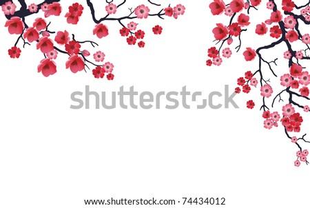 Illustration of flowering branch of Sakura. Vector. - stock vector