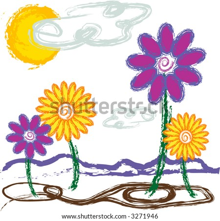Illustration of flowers growing on a plain with a crayon, child-like quality to it. - stock vector