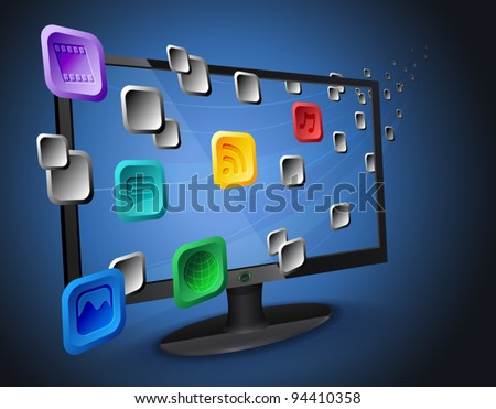 Illustration of flowing web app icons on cloud integrated widescreen Internet TV / computer. Vector eps 10 file layered, grouped and named for easy editing.