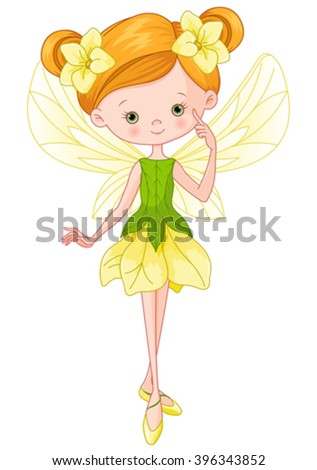 Illustration of flying beautiful forest fairy  - stock vector