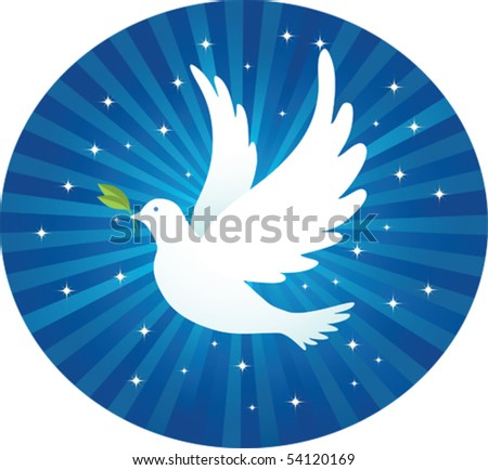 Illustration of Flying dove with leaf and blue background