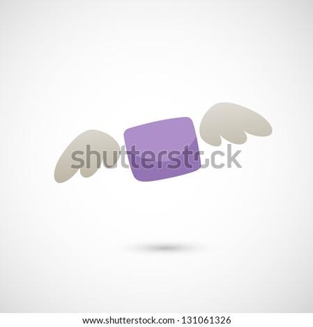 illustration of flying letter - stock vector