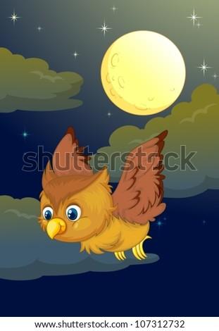 illustration of flying owl and full moon in a dark night - stock vector