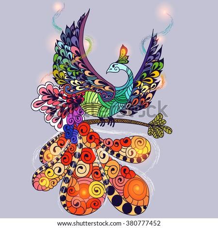Illustration of flying Phoenix Bird. Fire burning bird with lights on wings. - stock vector