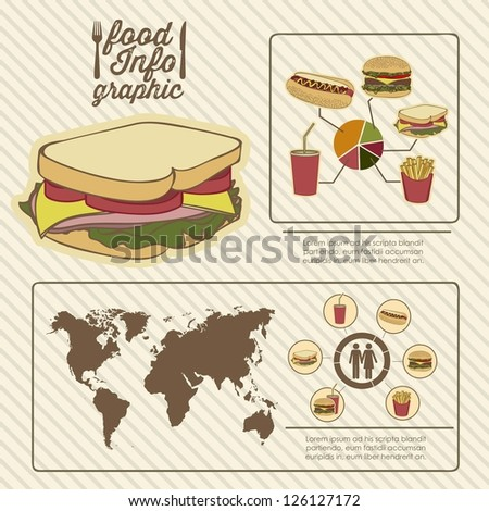 Illustration of food infographics, with food icons, vector illustration - stock vector