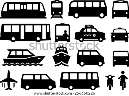 Illustration of forms of public transportation. Includes trains, buses, boats, vans and more. Vector icons for digital and print projects. - stock vector