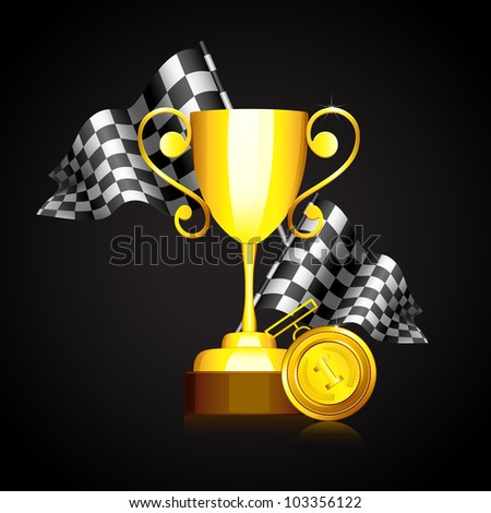 illustration of formula one race flag with gold trophy and medal