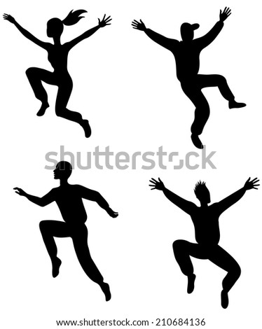 Illustration of four jumping people - stock vector