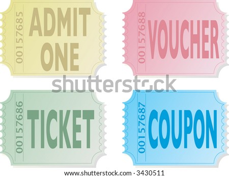Illustration of four old fashioned tickets that could be used for entry
