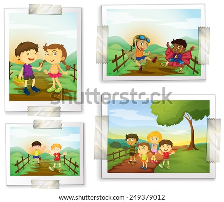 Illustration of four photos of children - stock vector