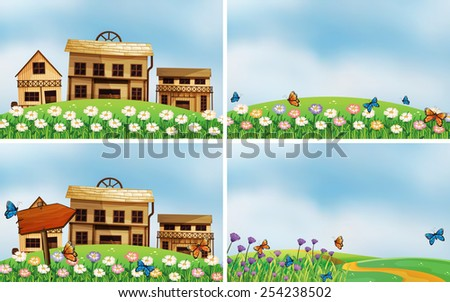 Illustration of four scenes of houses and nature - stock vector