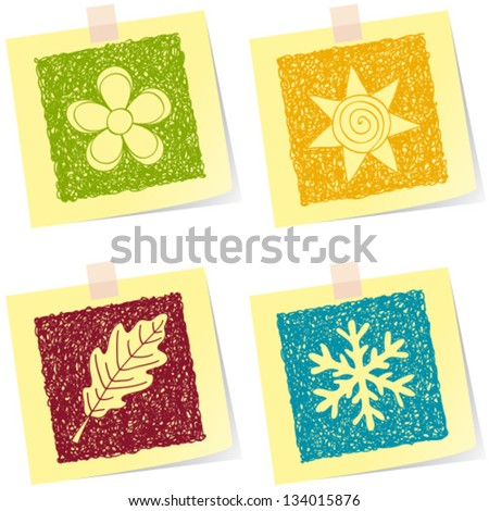 Illustration of four seasons sketches on paper notes - stock vector