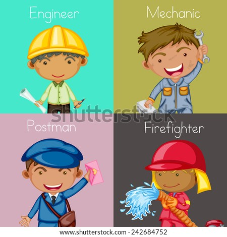 Illustration of four squares of different occupations - stock vector