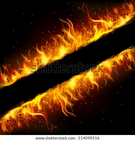 illustration of frame made of fire flame - stock vector
