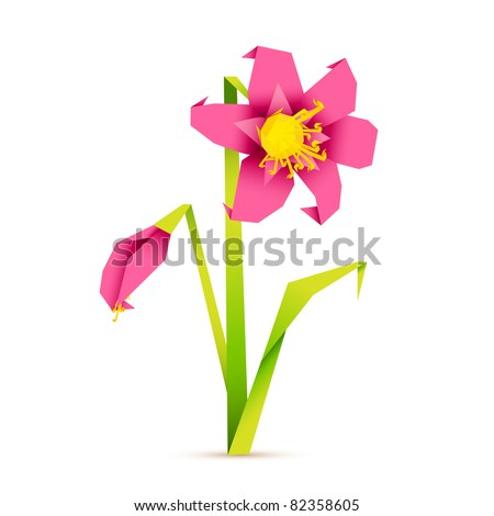 illustration of fresh flower in origiami style on abstract background - stock vector
