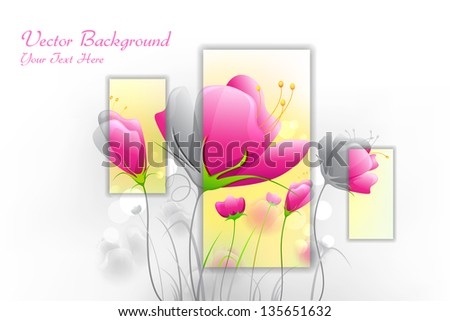 illustration of fresh flower on abstract background - stock vector