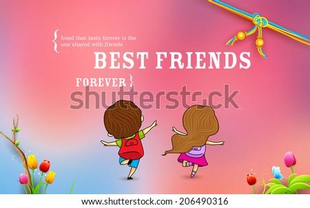 illustration of friends enjoying Happy Friendship Day - stock vector
